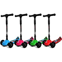 Three Wheel Kids Kick Scooter for Boys & Girls – Foldable Design, 4 Height Adjustable T-Bar, Micro LED Light Up 3 Wheels, Bottom Nylon Armour Protection – Toy For Children Age 5 6 7 8 9 Year Old