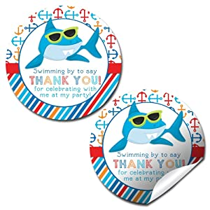 """Shark in Sunglasses Birthday Party Thank You Sticker Labels, 40 2"""" Party Circle Stickers by AmandaCreation, Great for Party Favors, Envelope Seals & Goodie Bags"""