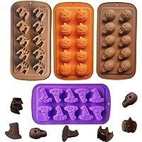 4 Pack Halloween Silicone Baking Molds,Pumpkin Skull Bat Wizard Hat Shape Cake Mold Chocolate Gummy Molds Ice Tray Cake…