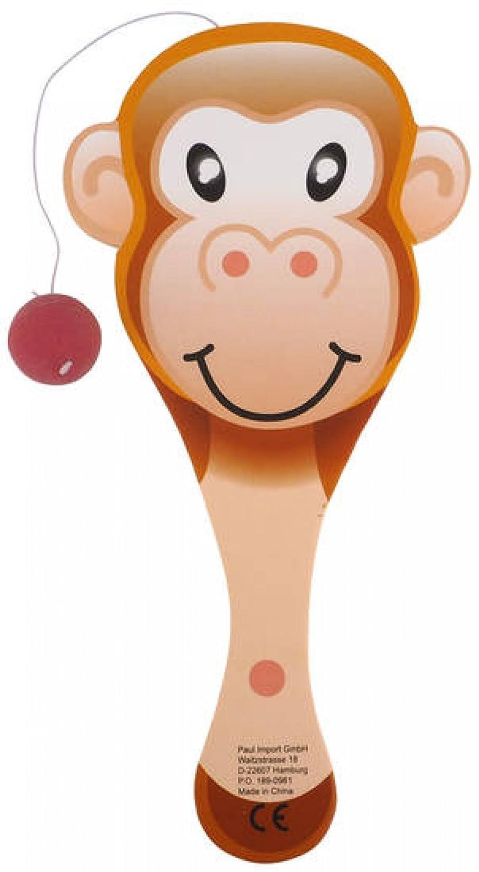 Raquette tape balle élastique bois animal 23cm - Singe