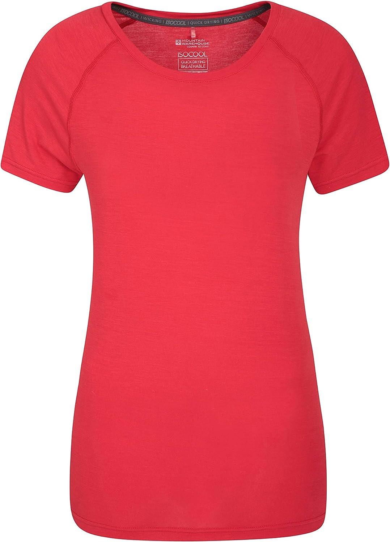 Mountain Warehouse Camiseta técnica de Las Mujeres de IsoCool - Camisa Redonda de la te del Cuello, Camisa Corta de Las Mangas, Tapa protegida UV de Las señoras Rojo 38: Amazon.es: Hogar