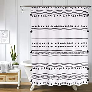 Uphome Fabric Boho Shower Curtain Black and White African Triangle Stripes Geometric Tassel Shower Curtain Set with Hooks Chic Tribal Bathroom Decor Accessories Heavy Duty and Waterproof, 72x78