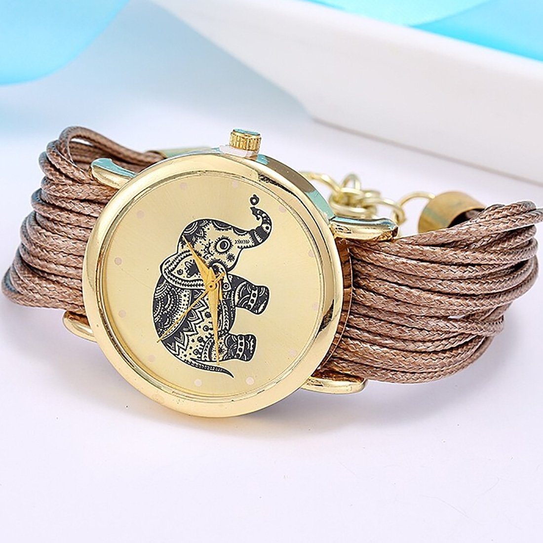 Amazon.com: 2016 Relojes Mujer Jewelry Fashion Women Dress Elephant Design Bracelet Watch Femme Quartz Watch Relogio Feminino Brown: Watches