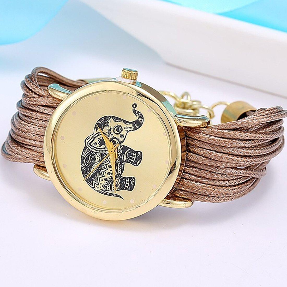 Amazon.com: 2016 Relojes Mujer Jewelry Fashion Women Dress Elephant Design Bracelet Watch Femme Quartz Watch Relogio Feminino Brown: Watches