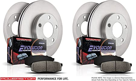 Power Stop KOE8357 Stock Replacement Front and Rear Brake Kit-Drilled//Slotted Rotors and Ceramic Brake Pads