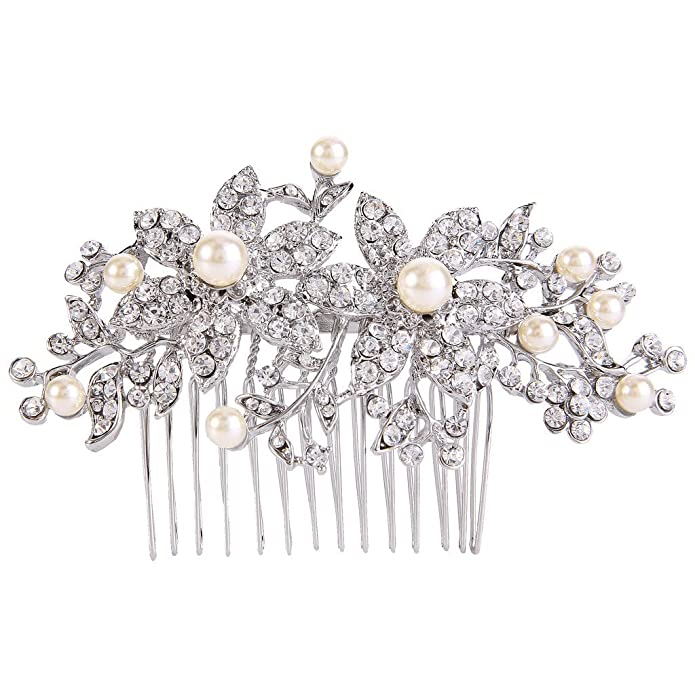 EVER FAITH Silver-Tone Austrian Crystal Cream Simulated Pearl Graceful Redbud Flower Hair Comb SdvjuF
