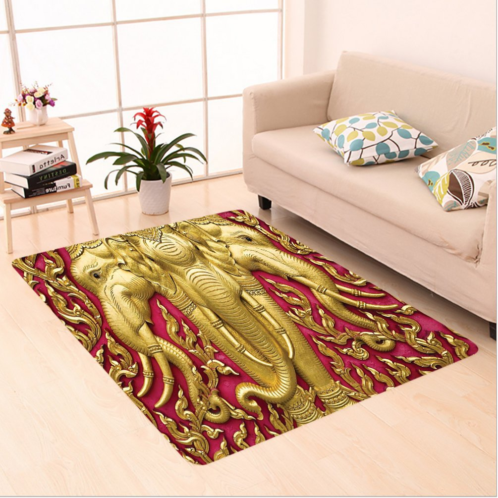 Nalahome Custom carpet Elephant Carved Gold Paint on Door Thai Temple Spirituality Statue Classic Image Magenta Golden area rugs for Living Dining Room Bedroom Hallway Office Carpet (6' X 9') by Nalahome