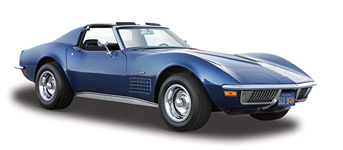 Maisto Chevrolet Corvette 70: Originalgetreues Modellauto 1:24 20 cm 531202 T/üren und Motorhaube zum /Öffnen Fertigmodell blau