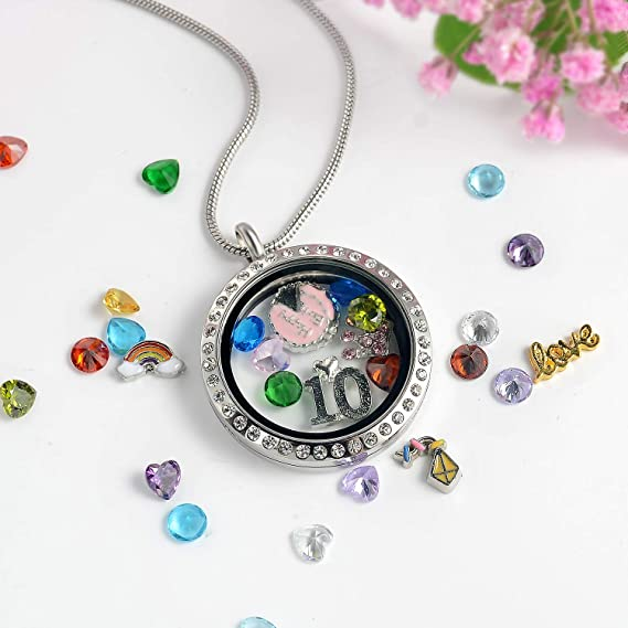 Personalised  Floating  Memory Locket Necklace 80th Birthday gift