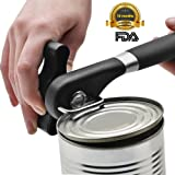 Food-Safe Stainless Steel Professional Smooth Edge Safety Can Opener Manual with Easy Turn Knob, Soft Comfortable Ergonomically Designed Anti Slip Handle - Lifetime Refund Or Replacement Guarantee