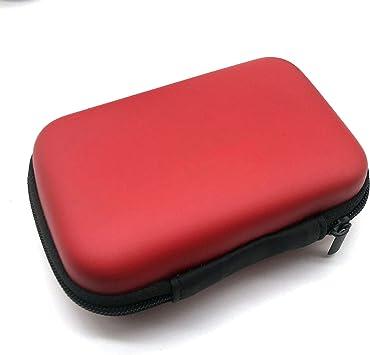 Shuda - Funda rígida antigolpes de Almacenamiento y protección para Disco Duro Línea de Datos PenDrive Externo MP3 Esencial (11 x 8,4 cm) Rojo Rojo: Amazon.es: Electrónica