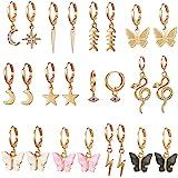 9/10/12 Pairs Gold Small Hoop Earrings Pack with Charm-Silver Mini Hoop Dangle Earrings with Charm- Huggie Hoop Earrings Set