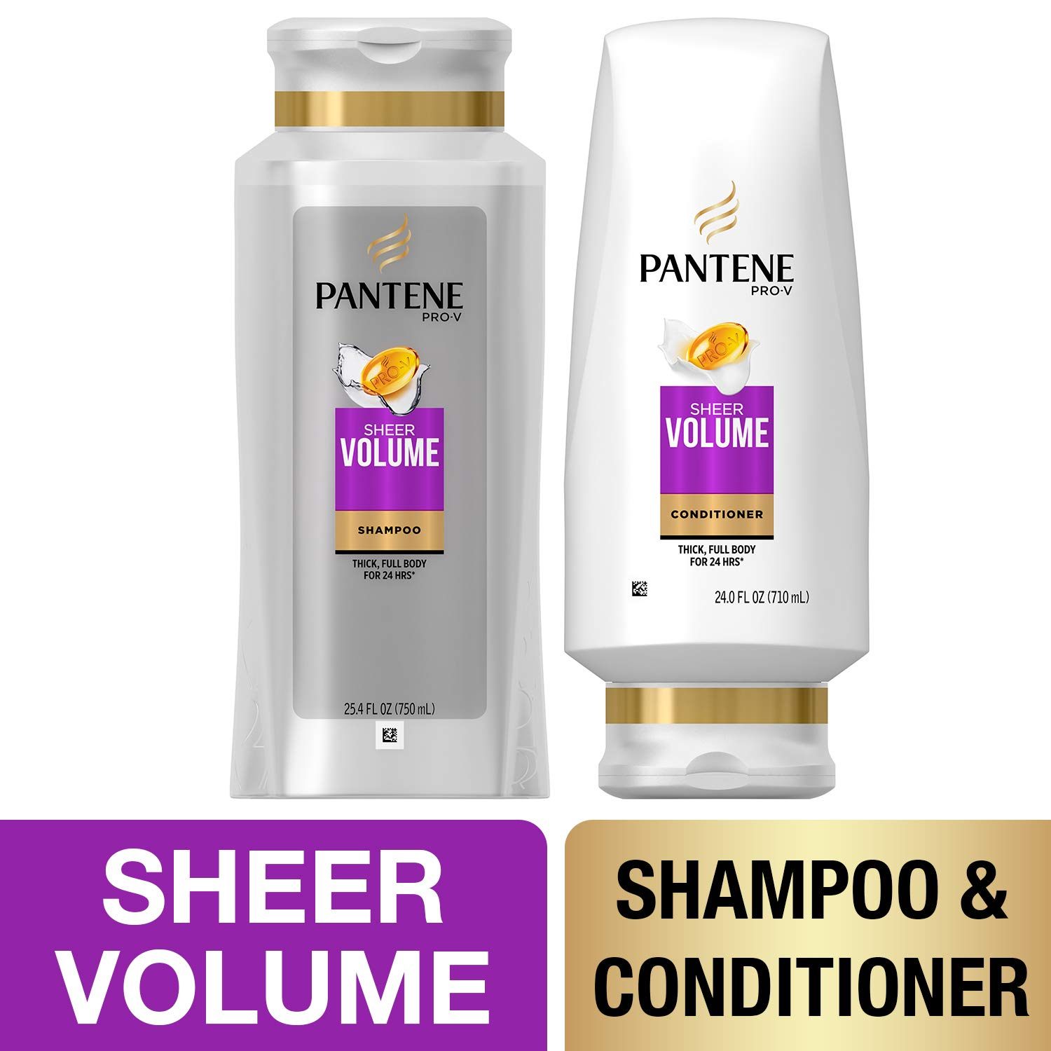 Pantene, Shampoo and Sulfate Free Conditioner Kit, Pro-V Sheer Volume for Fine Hair, 25.4 oz and 24 oz, Kit by Pantene
