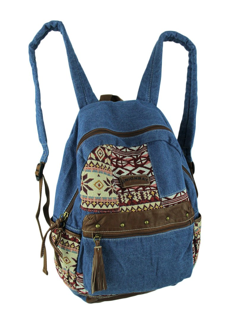 Things2Die4 Cotton Basic Multipurpose Backpacks Unionbay Blue Denim Tribal Patches Boho Backpack 12.25 X 17.5 X 5 Inches Blue