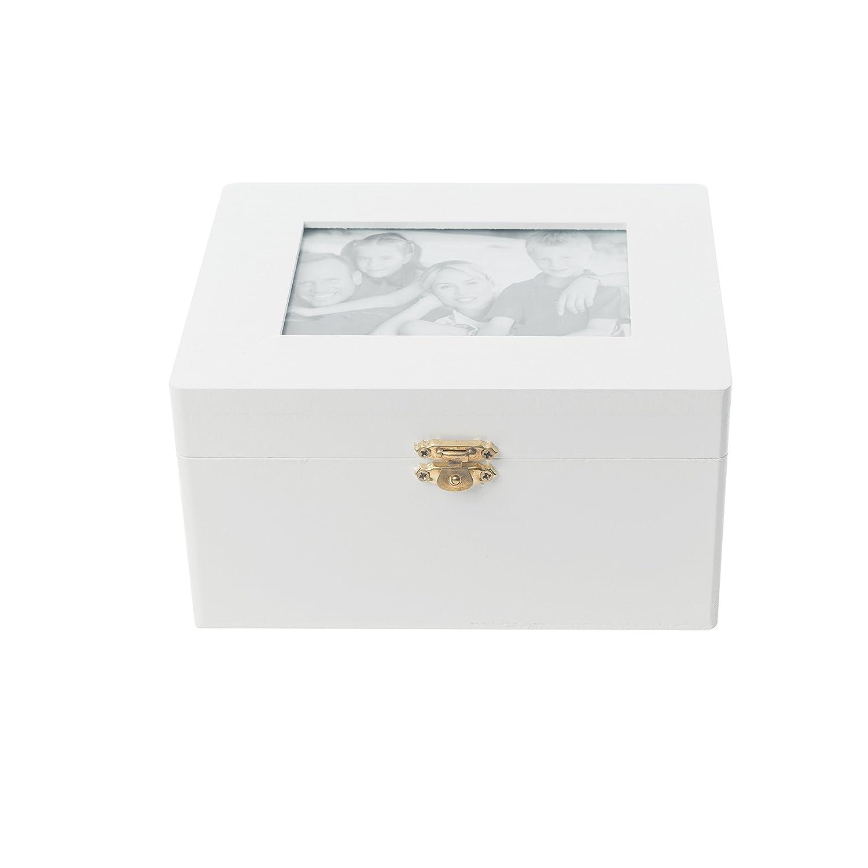 Amazon.de: elbmöbel 9, 5x18x14cm Kiste Truhe weiß Holz Schmuckkiste ...