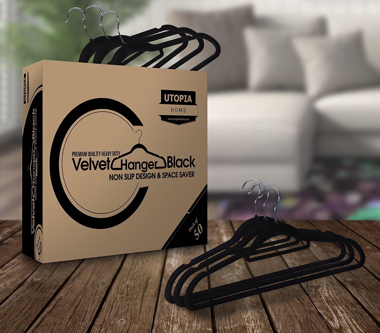 Slim /& Non Slip Grey Clothes Hanger Premium Velvet Hangers with Tie Bar Velvet Suit Hangers 50 Pack Heavy Duty Utopia Home