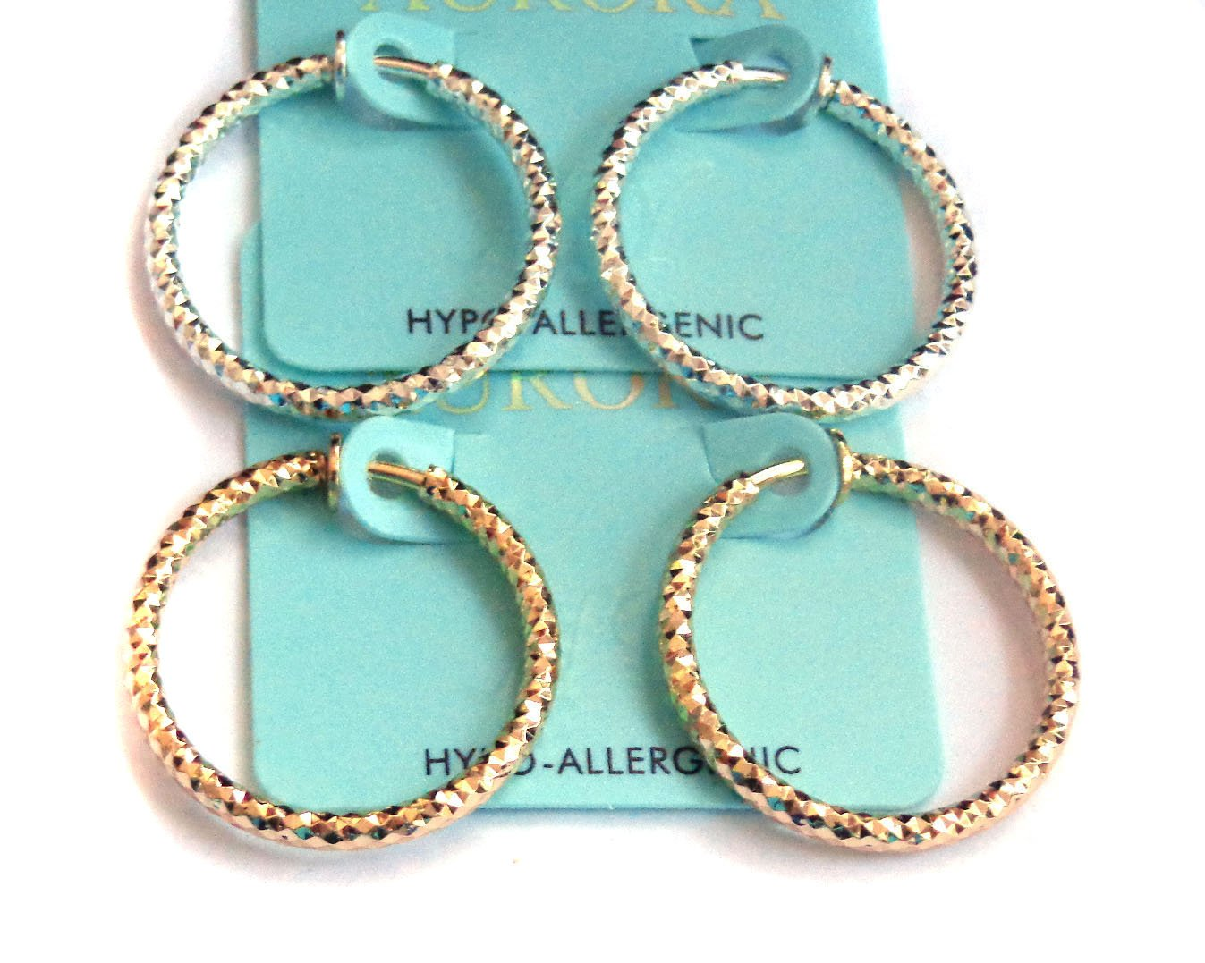 Clip-on Earrings Dia Cut Hoop Gold Or Silver Tone 1 inch Hoops Hypo-Allergenic (silver)