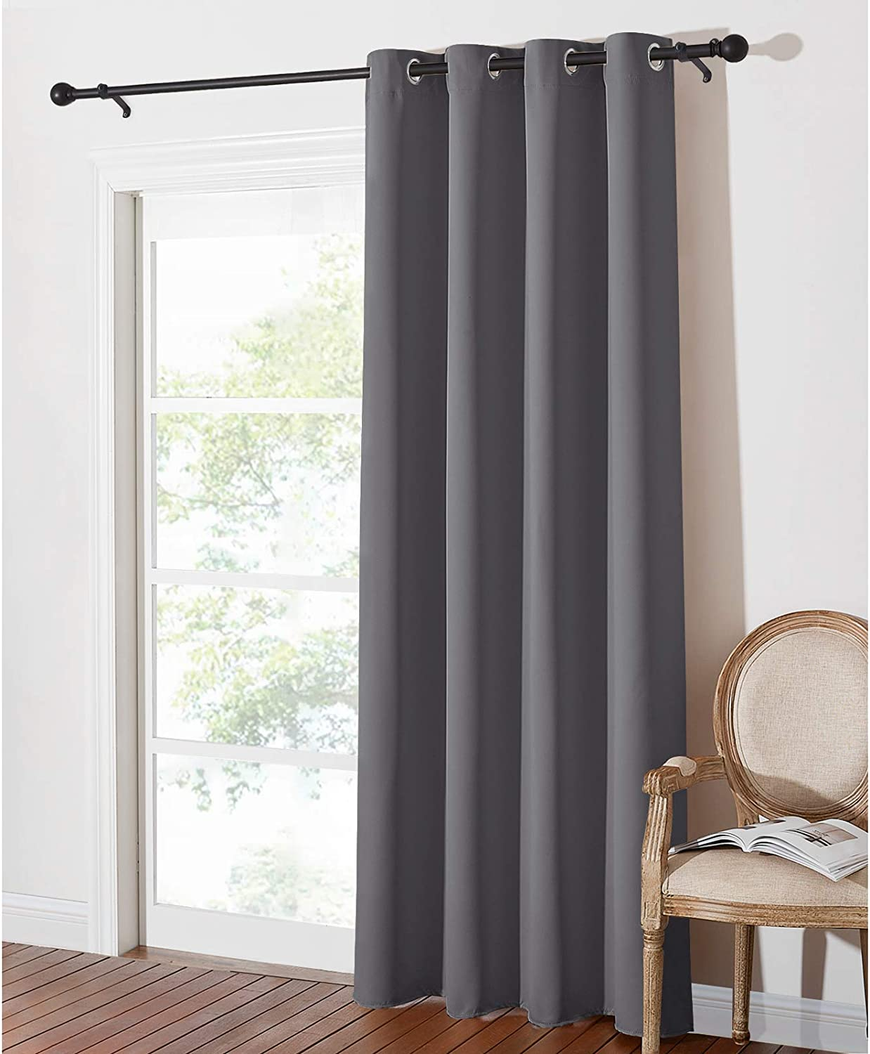 """PONY DANCE Thermal Blackout Curtain - 84-inch Long Blackout Door Curtain for Living Room Eyelet Window Treatment for Home Fashion & Decoration, 1 Panel, W 52-inch by D 84-inch, Grey 1 Panel- W 52"""" x L 84"""" Grey"""