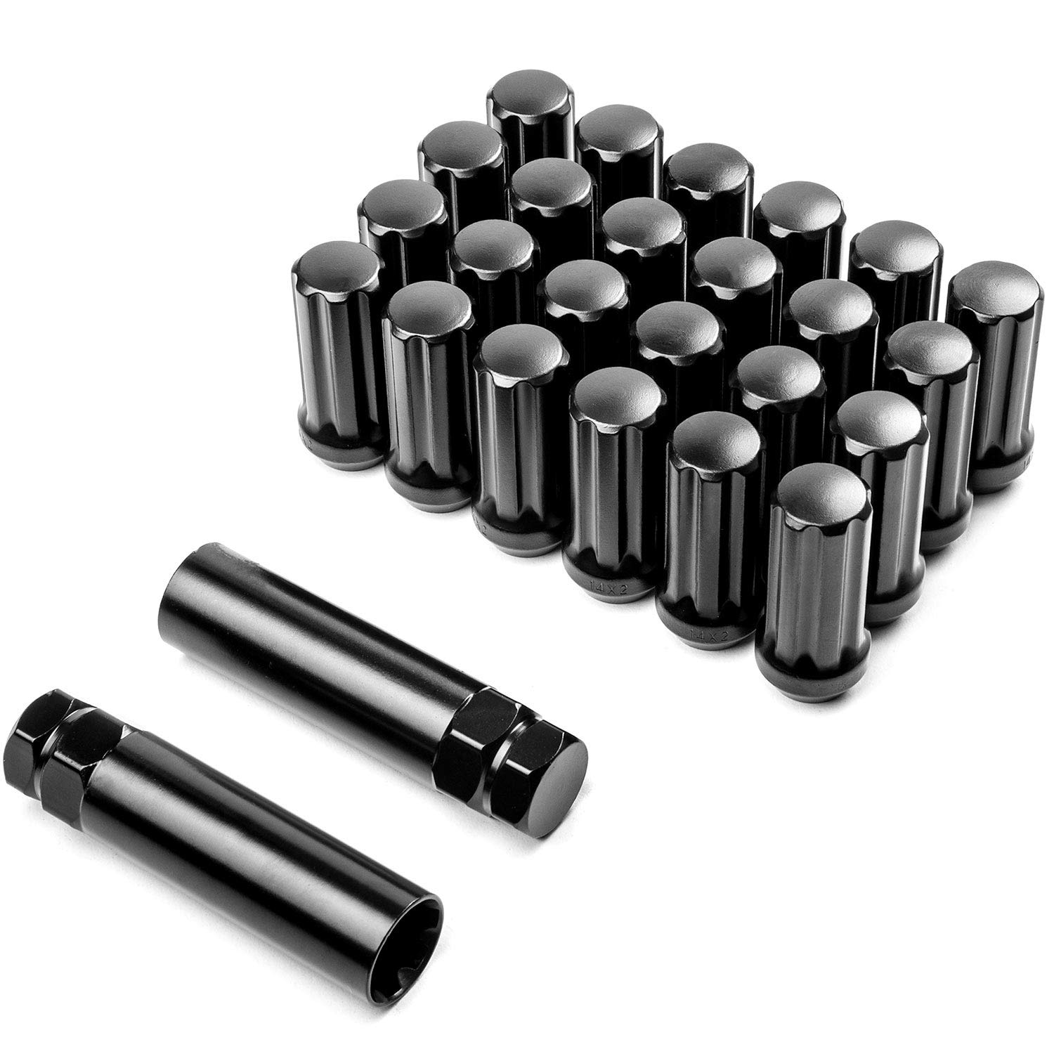 Krator 24pc Black 14x2 Wheel Lug Nuts + 2x Keys Anti-Theft Locking Security Lug Nut 7 Spline Drive Closed End Cone Seat - Overall Length: 2.0' KapscoMoto