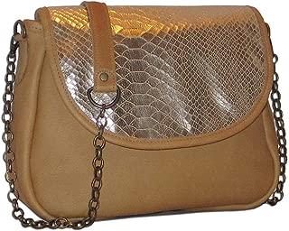 product image for Tan Metallic Snakeskin Italian Leather Medium Foldover Crossbody