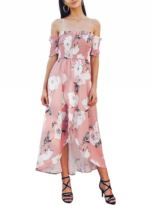 Missy Chilli Damen Kleid Lang Sommer Elegant Schickes Off ...