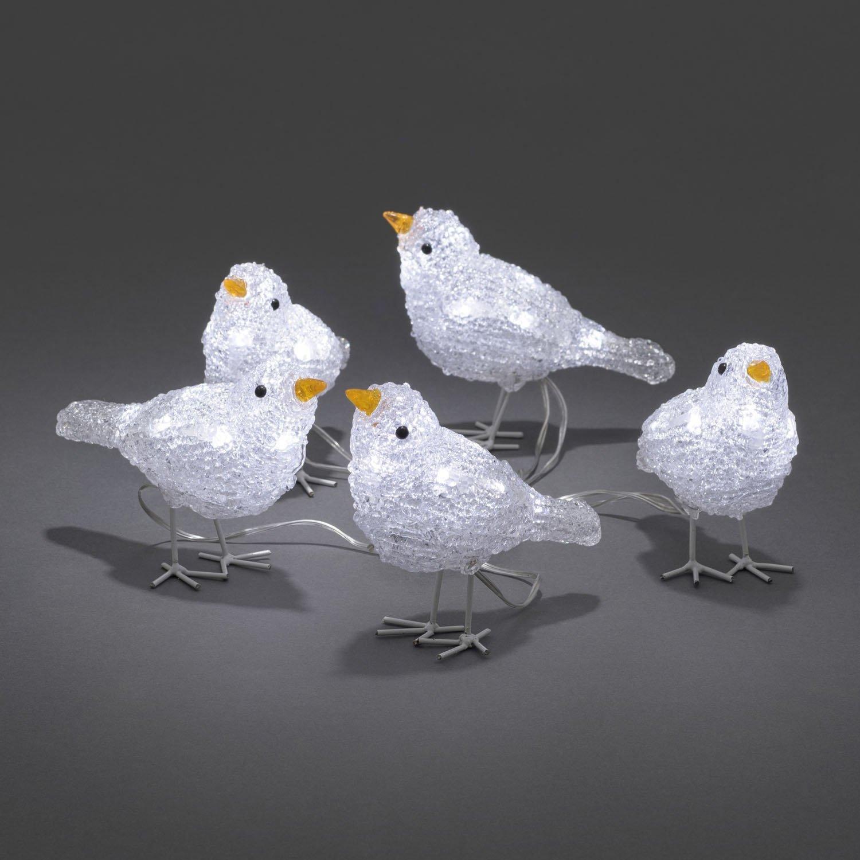 Konstsmide Acrylic Flock of Small Birds 5 birds 40 LED Indoor