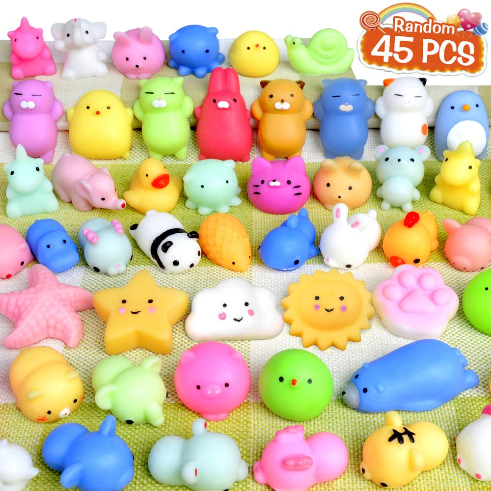 FLY2SKY 45Pcs Mochi Squishy Toys Mini Squishies Kawaii Animal Squishies Party Favors for Kids Cat Panda Unicorn Squishy Novelty Stress Relief Toys Birthday Gifts Goody Bags Class Prizes Pinata Fillers by FLY2SKY