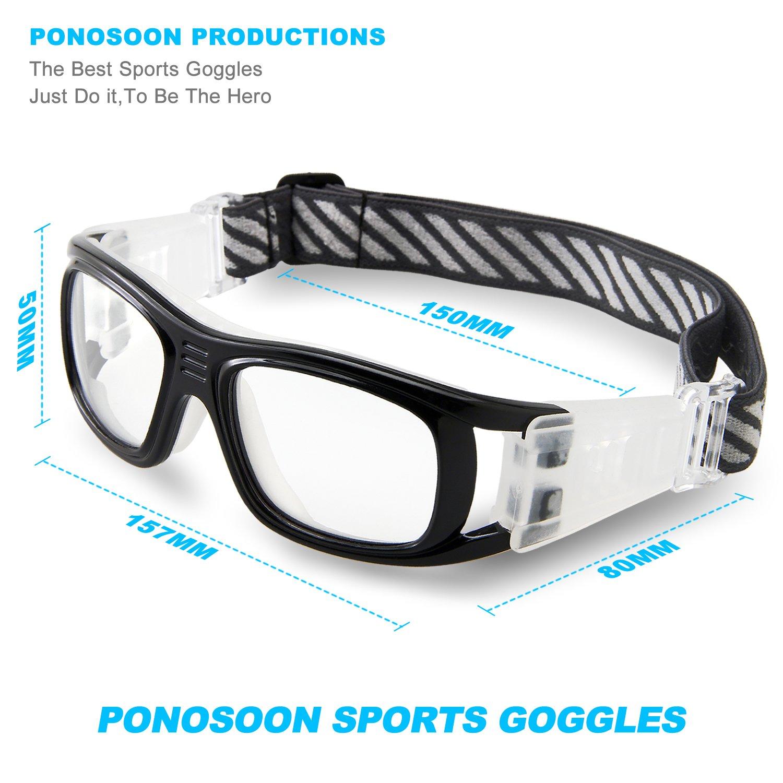Sports frames for eyeglasses - Amazon Com Ponosoon Sports Goggles Glasses For Basketball Football Volleyball Hockey 1809 Black Sports Outdoors