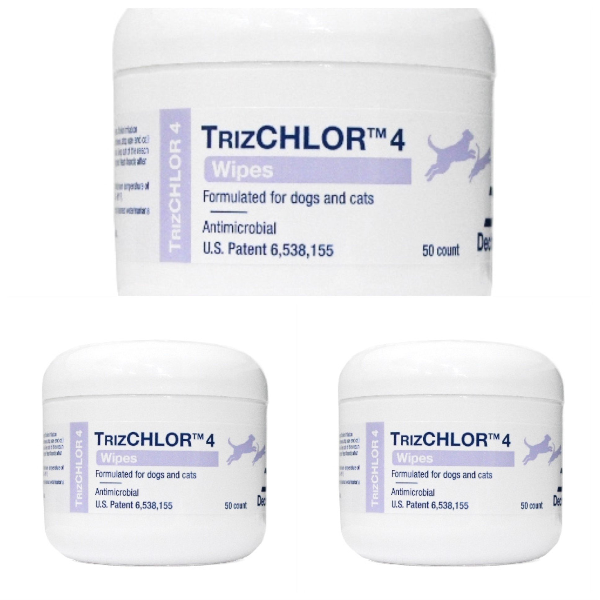TRIZCHLOR 4 Dechra Pet Wipes, 50 Each, 3 Pack