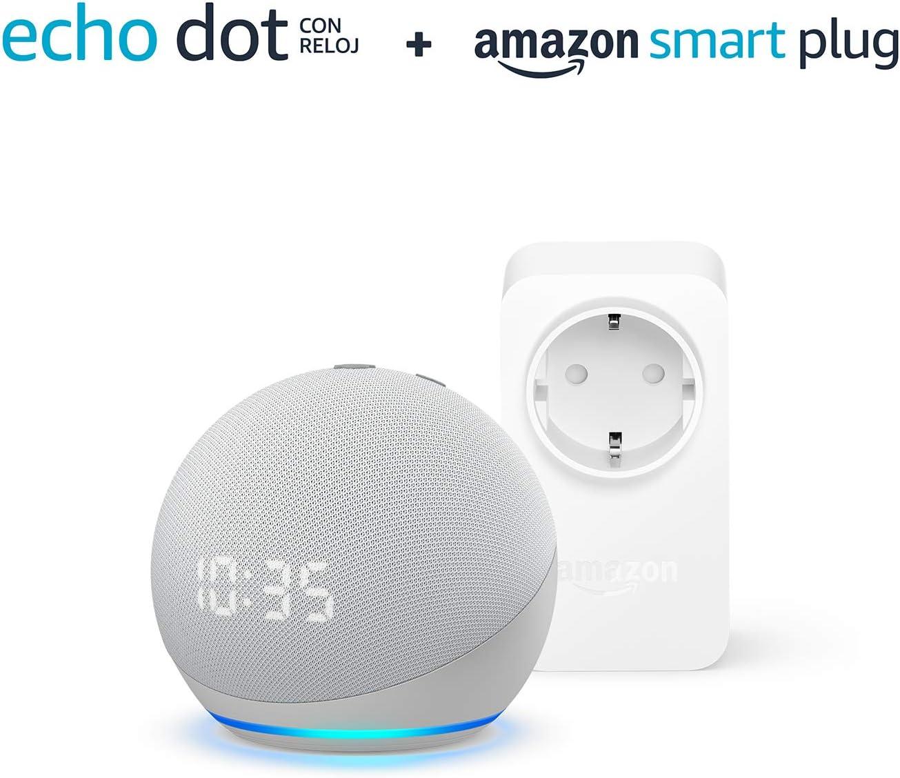 Nuevo Echo Dot (4.ª generación) con reloj, Blanco + Amazon Smart Plug (enchufe inteligente WiFi), compatible con Alexa