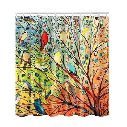 Artown Tree And Birds Shower Curtain Romantic Vintage Waterproof Mildew Resistant Oil Painting Metal Grommets