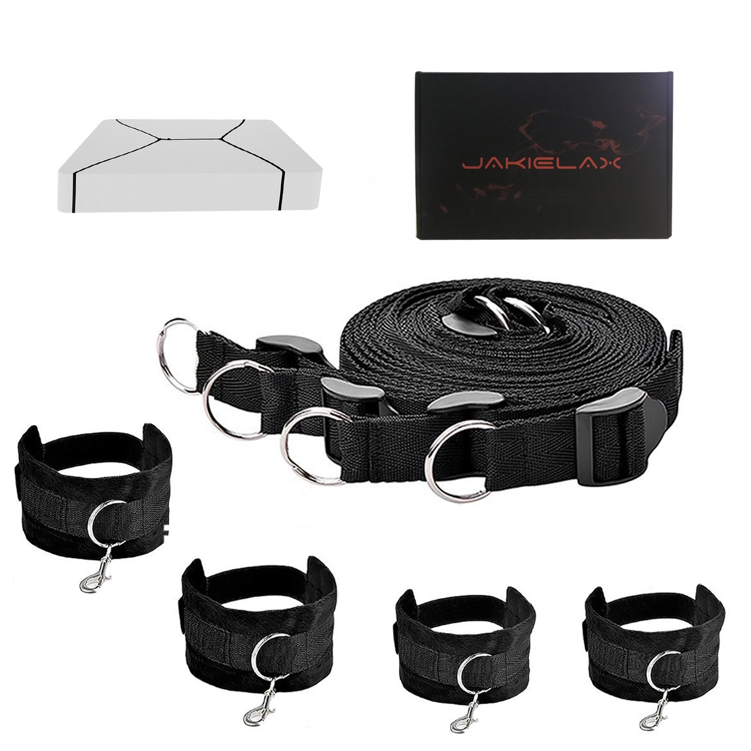 JAKIELAX Bed Restraint Straps Kits with Adjustable Fur Wrist and Ankle Cuffs Exercise Bands