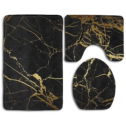 Redbeans Black Gold Marble Bath Mat Bathroom Carpet Rug Washable Non Slip 3 Piece Bathroom Mat Set