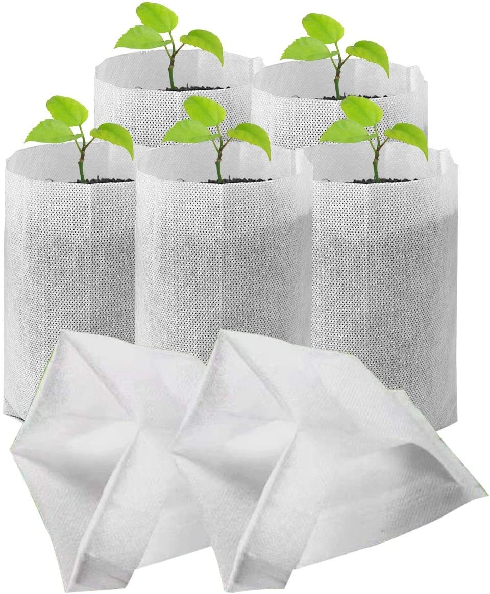 CheeseandU Nursery Grow Bags, 100 PCS Solid Biodegradable Non-Woven Plants Grow Bags, Seed Starter Bags Fabric Seedling Pots Plants Pouch Container Farm Home Garden Supply White 7.8