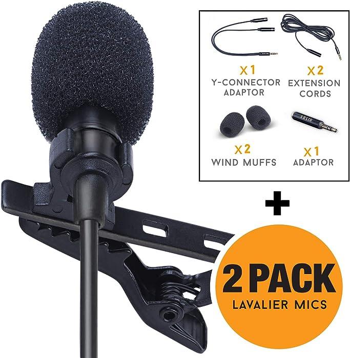 SoLID (TM) Lavalier Lapel Microphone 2 Pack Complete Set Omnidirectional Mic for Desktop PC Computer, Mac, Smartphone, iPhone, GoPro, DSLR, Camcorder for Podcast, YouTube, Vlogging, and DJs