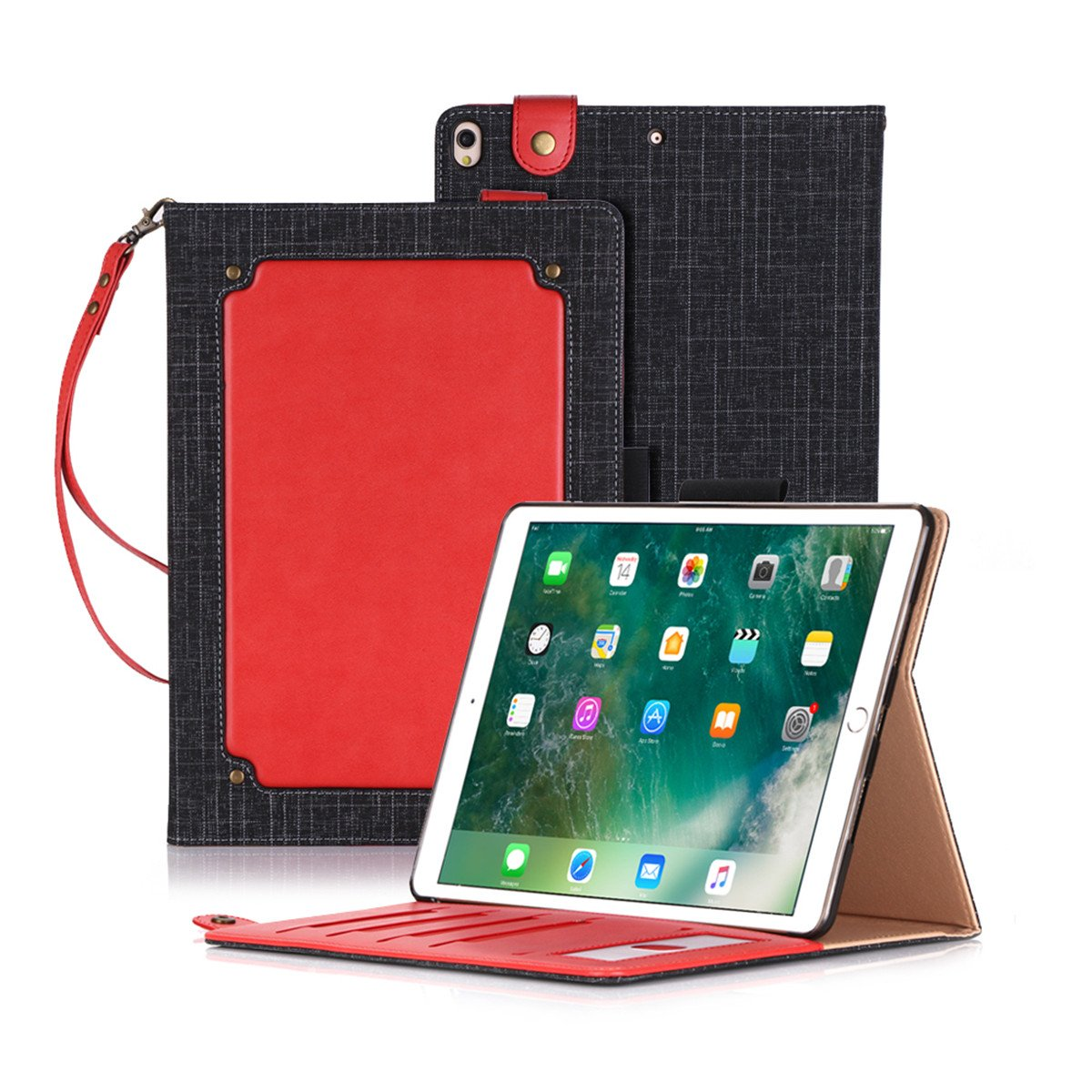 Codream iPad Pro 10.5 Inch 2017 Case, iPad Pro 10.5 Inch 2017 Leather Wallet Case Book Design with Flip Cover and Stand [Credit Card Slot] Cover Case for iPad Pro 10.5 Inch 2017 - Red