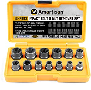 Amartisan Impact Bolt Extractor Tool, 13PC Bolt Nut Removal Extractor Socket Tool Set