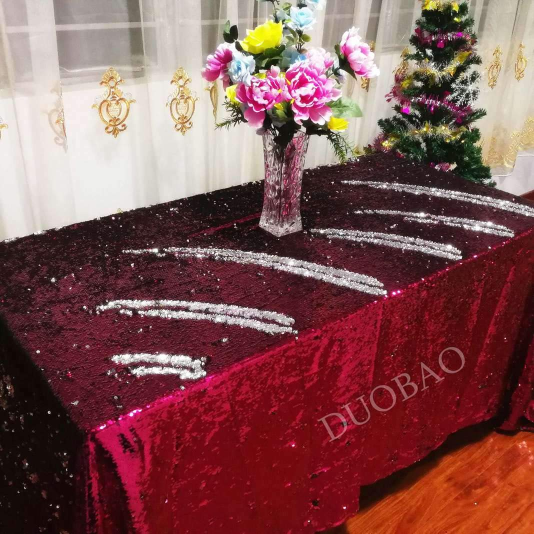 DUOBAO 72x108-Inch Rectangle Sequin Tablecloth Fuchsia to Silver Glitter Table Cloths Mermaid Sequin Table Cover for wedding/party/birthday-0612H
