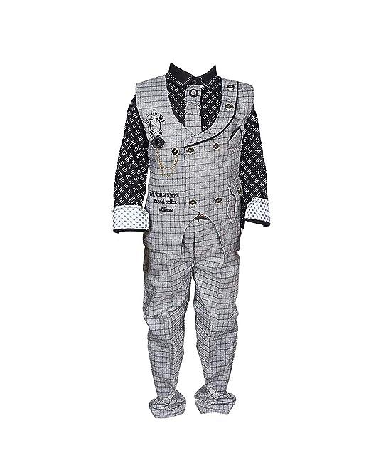 f6d370be5e6b Krystle kids Cotton party wear waistcoat suit set for boys  Amazon ...