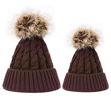 5c54c999c90f TinTop Bonnet Bébé Maman Tricot Chapeau d Automne-Hiver Unisexe Chaud  Beanie Bobble Bonnet