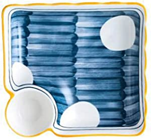 WSXEDC Household Dumpling Plate Ceramic Dumpling Plate with Vinegar Plate Sushi Plate Vegetable Plate Dividing Plate, Suitable for Dumpling, Snack, and Other Food Dumpling plate (Color : A)