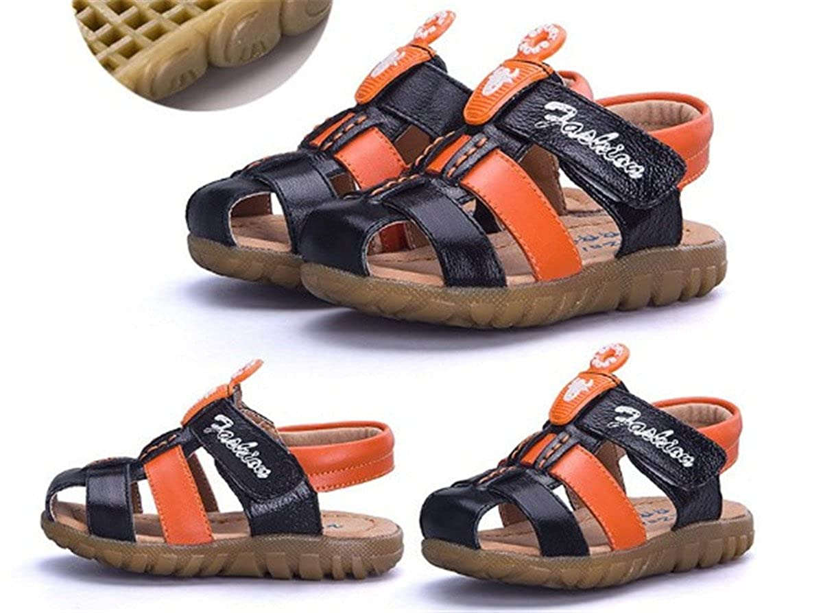 BININBOX Summer Breathable Sandals Girl Boys Toddler Kid Shoe Closed-Toe Cow