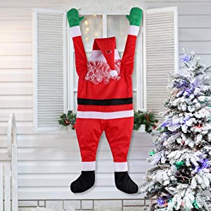 LAOSSC Hanging Santa Claus Christmas Decorations Suitable for Gutters, Christmas Decor Props On The Roof