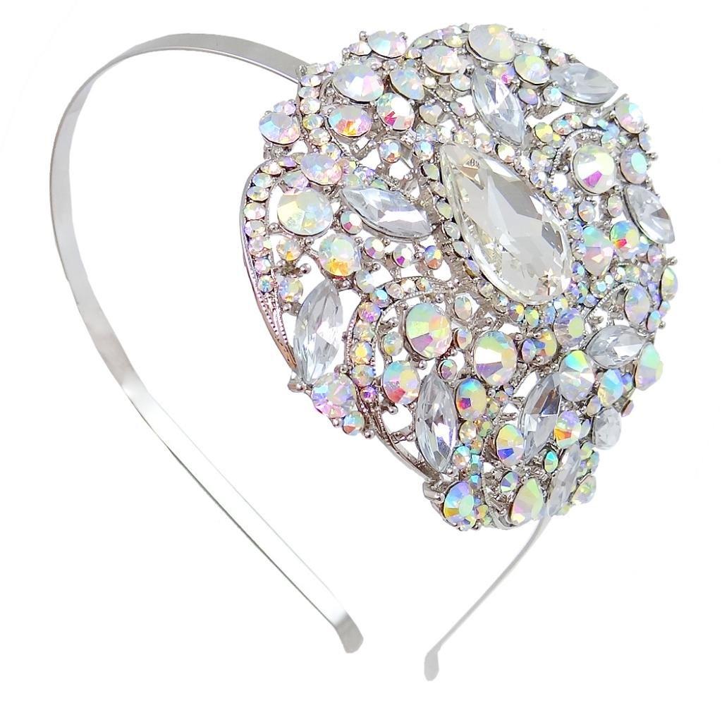 Ever Faith Wedding Silver-Tone Flower Leaf Teardrop Clear Austrian Crystal Headband Crown A08921-1 A08921-1