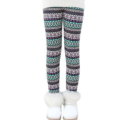 toddler kids girls pants winter thick fleece lined christmas leggings tights diamond 3t