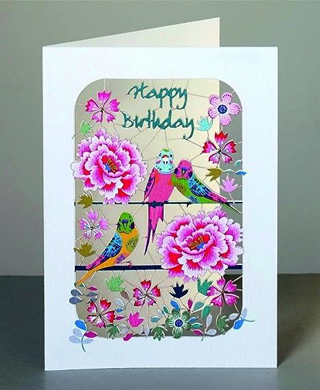 Cumpleaños Laser Cut tarjeta 3d Cumpleaños Tarjeta Pájaros ...