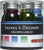 Herbin Encre spéciale Set de 5 bouteilles d'encre à dessiner Orange/Rouge/Fuchsia/Bleu/Vert