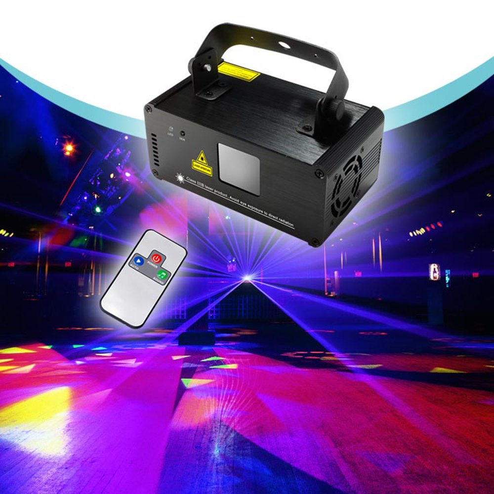 Sumger Professional DMX Blue Laser Show Stage Lighting Scanner Party Light LED Projector Fantastic Full Color Xmas with Remote for Festival Bar Club Party Wedding