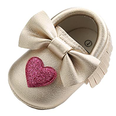 d5dbcb07835 Voberry Baby-Girl s Purple Tassel Bow Soft Sole PU Leather Loafers (0-6  Months)  Amazon.in  Shoes   Handbags