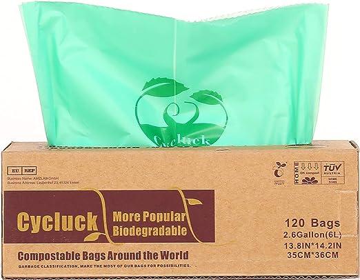 Cycluck 120 Bolsas 6L Bolsa de Basura ecológica 100% Biodegradable ...